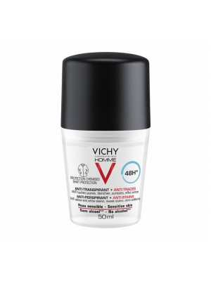 """VICHY HOMME 48h """"NO TRACE"""" DEODORANT ROLL ON 50ML"""
