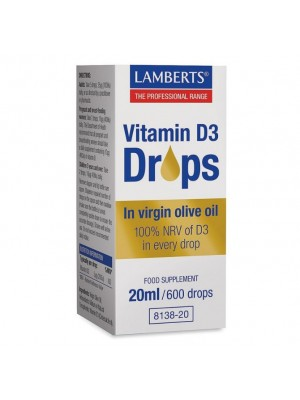LAMBERTS VITAMIN D3 DROPS 20ML/600DROPS