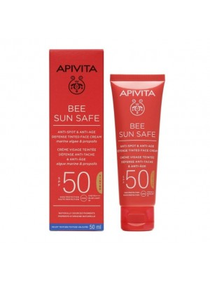 APIVITA BEE SUN SAFE ANTI-SPOT & ANTI-AGE DEFENSE TINTED CREAM SPF50 50ML
