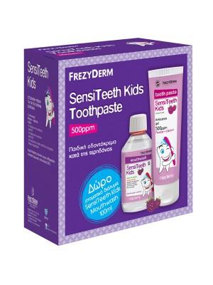 FREZYDERM SENSITEETH KIDS TOOTHPASTE 500PPM 50ML & MOUTHWASH 100ML