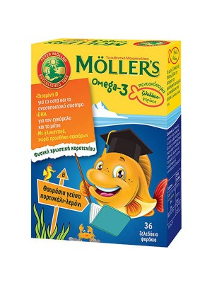 MOLLER'S OMEGA-3 ΖΕΛΕΔΑΚΙΑ-ΨΑΡΑΚΙΑ ΜΕ ΓΕΥΣΗ ΠΟΡΤΟΚΑΛΙ-ΛΕΜΟΝΙ 36CAPS