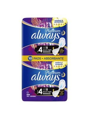 Always Comfort & Protection Platinum Secure Night Μέγεθος 4 Σερβιέτες Με Φτερά 10 τεμάχια