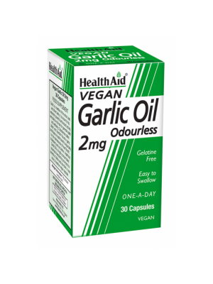 HEALTH AID GARLIC OIL 2MG ODOURLESS VEGETARIAN CAPSULES 30'S