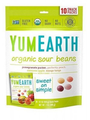 YUMEARTH ORGANIC SOUR BEANS 10 SNACK PACKS ΚΟΥΦΕΤΑΚΙΑ ΦΡΟΥΤΩΝ BIO 50GR