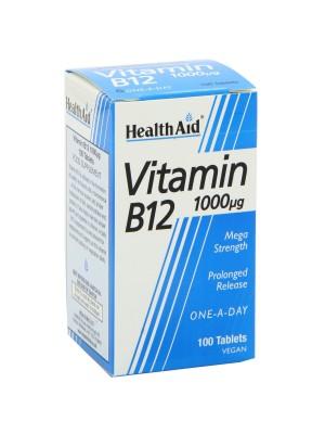 HEALTH AID VITAMIN B12 (CYANOCOBALAMIN) 1000UG PROLONGED RELEASE TABLETS 100'S